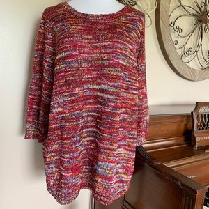 NWT Studio Works Size 2X Red Colorful Sweater